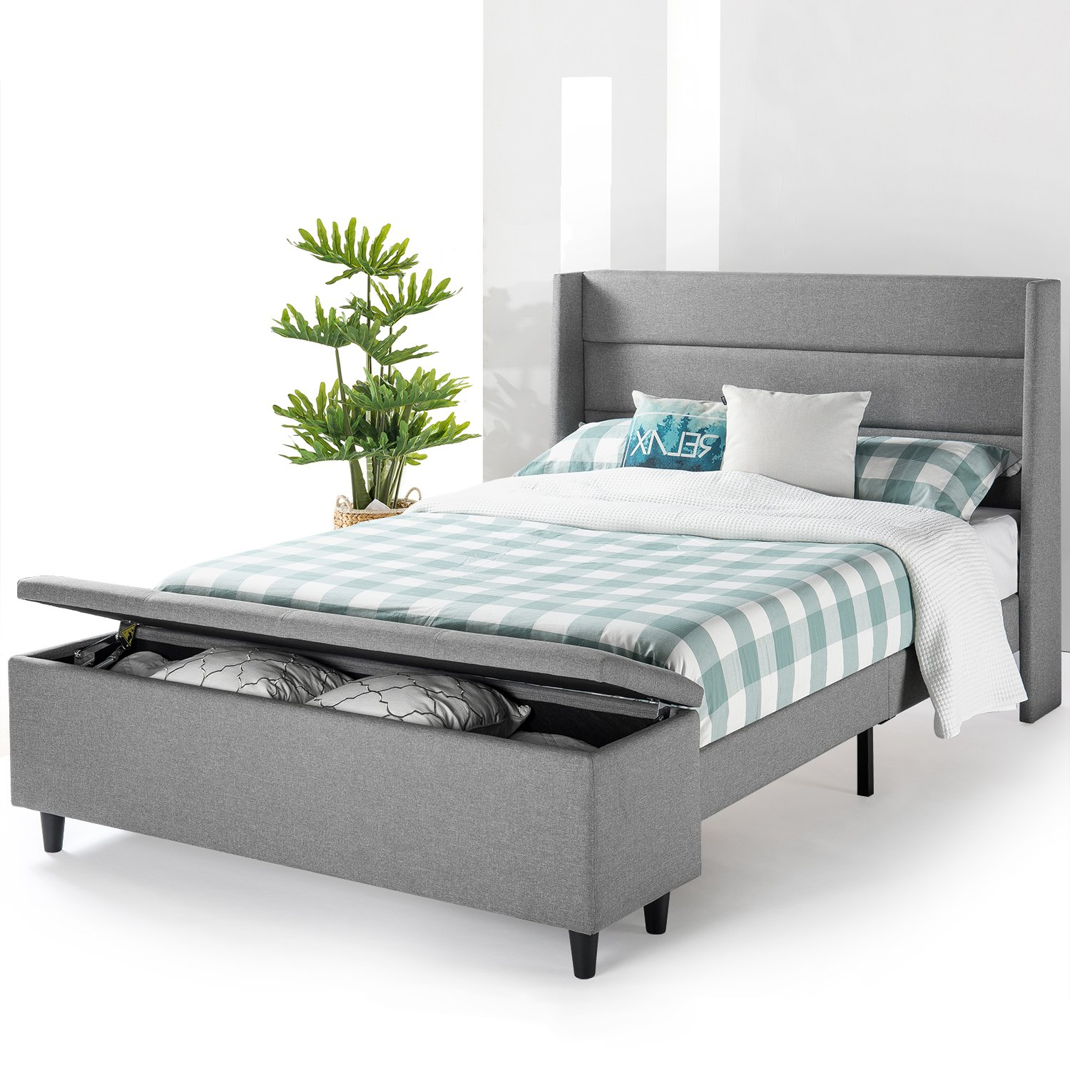 Amazon Com Mellow Platform Bed With Headboard And Bedside Storage Ottoman Queen Gray