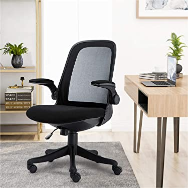 Mid-Back Ergonomic Home Office Chair,Komene Adjustable Mesh Computer Chair Thickened Seat Desk Chair with Lumbar Support and Flip-up Armrest Task Chair, Hold on 300Lbs