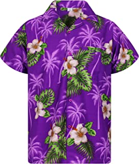 V.H.O Funky Hawaiian Shirt for Men Shortsleeve Front-Pocket Casual Button Down Small Flower