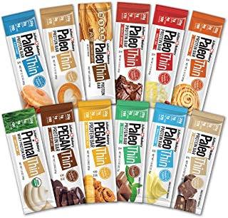 Paleo Thin® Protein Bars (New Variety Box) (20g Protein)(Gluten-Free)(Low Carb)(12 Bars)