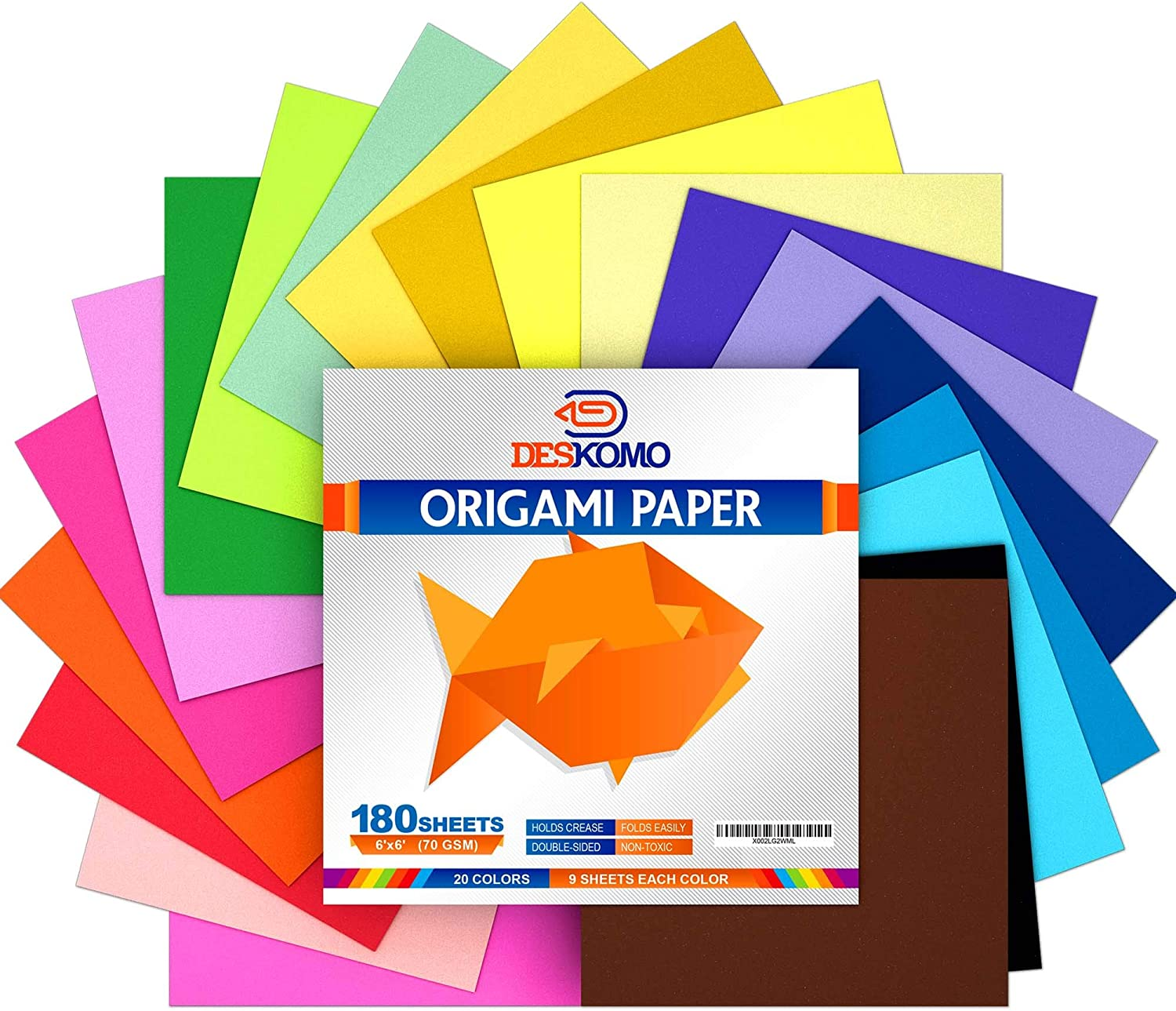 Deskomo Origami Paper for Kids Double Overseas parallel import regular item 180 Sided Pack Daily bargain sale Sheets of -