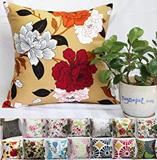 """Best TangDepot 100% Cotton Floral/Flower Printcloth Decorative Throw Pillow Covers /Handmade Pillow Shams, 14 Color and 10 Size options, Light Black, Peach Blossom, Red Rosebush, Red And Green Leaf, White Magnolia, Fantastic Flowers, Chrysanthemum, Peony, Red And Navy Flower, Blue Floral, Pink Floral, Blue Wheel, Red Wheel, Tree Rings, 12"""" x 12"""", 12"""" x 18"""", 12"""" x 20"""", 14"""" x 14"""", 16"""" x 16"""", 18"""" x 18"""", 20"""" x 20"""", 22"""" x 22"""", 24"""" x 24"""" and 26"""" x 26"""" - (18""""x18"""", S08 Peony) Review"""