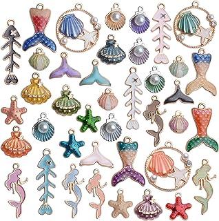 2 Fish Tail Charms Multicolor Enamel Fish Scale Design Pendants Fish Lover/'s Beach Lover/'s Sea Lover/'s Earrings Bracelet Yoga Mala Necklace