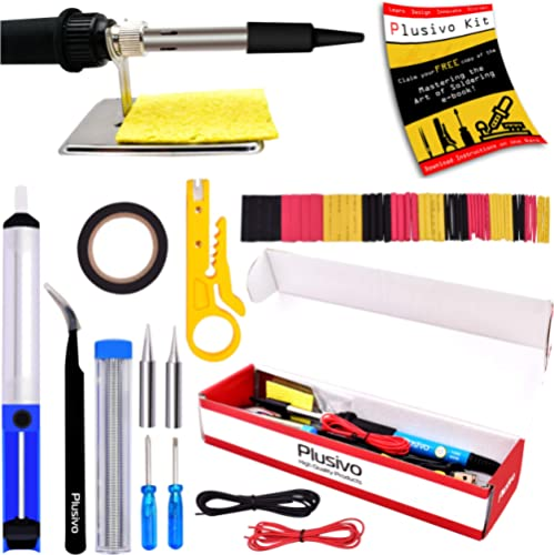 Soldering Iron Kit Electronics, Soldering Iron 60W Adjustable Temperature, Solder Wire, Wire Cutter, Desoldering Pump...