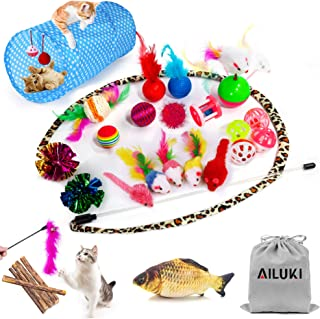 AILUKI 29 PCS Cat Toys Kitten Toys Assortments, Variety Catnip Toy Set Including 2 Way Tunnel,Cat Feather Teaser,Catnip Fish,Mice,Colorful Balls and Bells for Cat,Puppy,Kitty