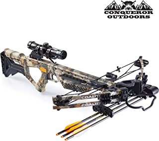 CONQUEROR OUTDOORS PSE Crossbow Coalition | Hunting | Compound | Camo | 380FPS | Cocking Rope, Wax, Quiver, Arrows, Scope | for Left and Right Hand Hunting