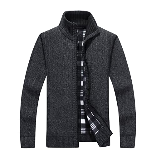 c20c11995d5b Vcansion Men s Classic Long Sleeve Full Zip up Fleece Knitted Cardigan  Sweaters