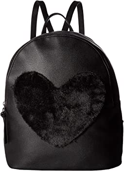Large Backpack with Faux Fur Heart