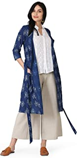 Abhishti Natural Indigo Triskellion straight Kurta with Shell buttons and belt With Palazoo Set Avaliable in-XS,S,M,L,XL