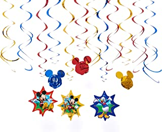 American Greetings Mickey Mouse Party Supplies Hanging Swirl Decorations, 12-Count