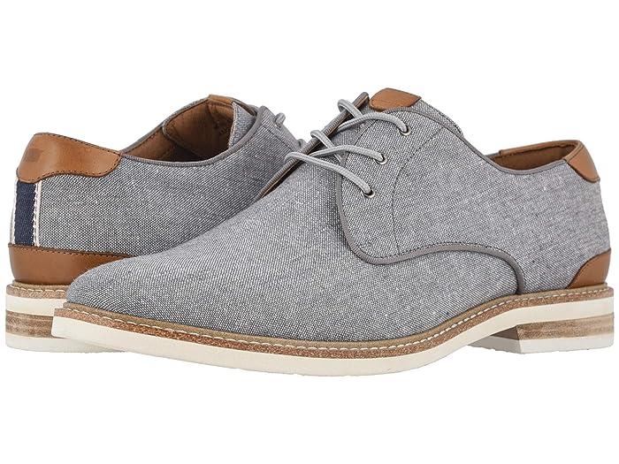 Florsheim  Highland Canvas Plain Toe Oxford (Gray Canvas/White Sole) Mens Shoes