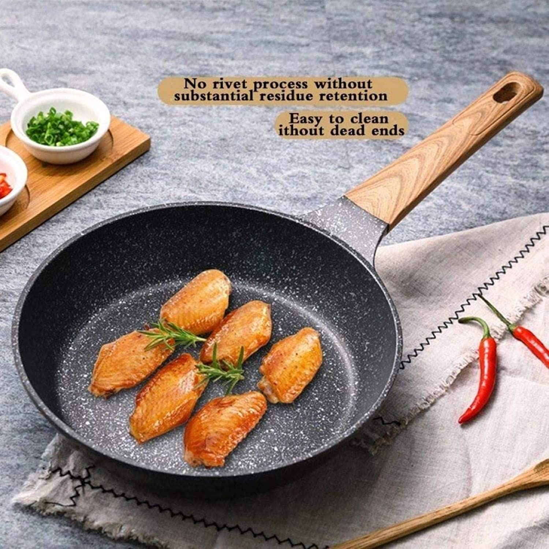 20-28 Cm Pierre Médicale Non-Stick Frying Pan Wok Pancake Steak Pan Pas Fumées avec/sans Couvercle pour Utilisation De Gaz Cuisinière À Induction La Poêle