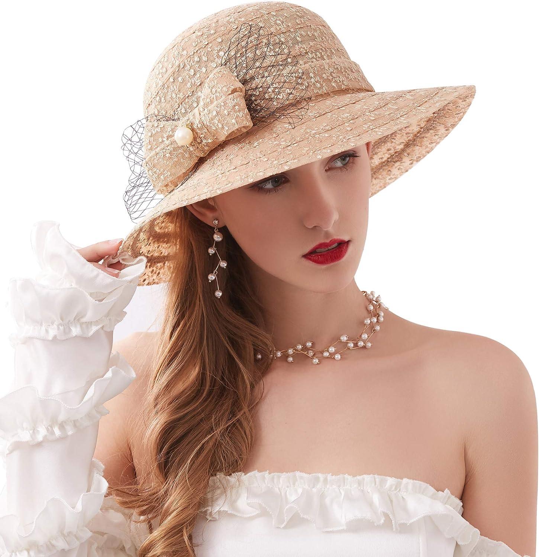ORIDOOR Women's Church Derby Race Tea Party Fascinator Wedding Dress Hat Floral Lace Bucket Sun Hat with Bowknot