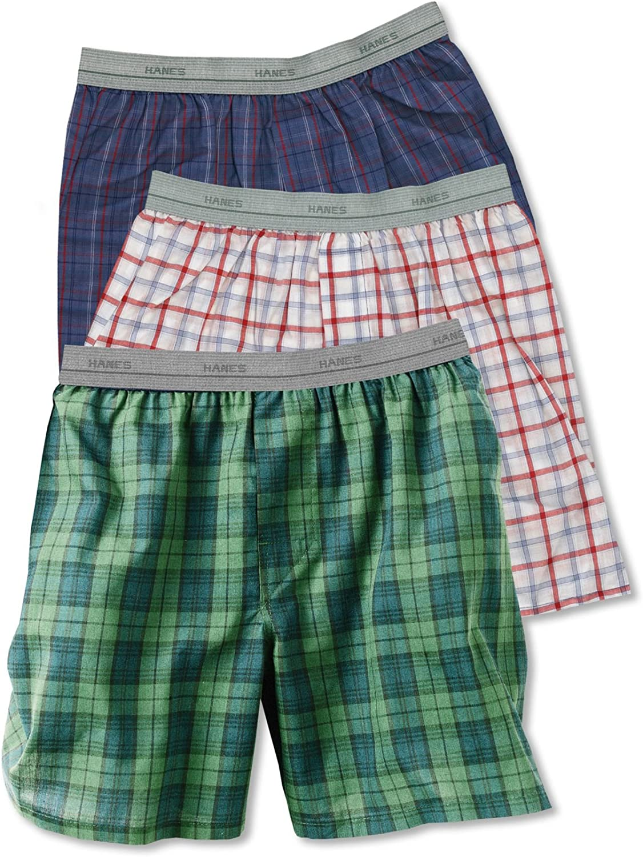 Hanes Boys 3 Pair ComfortFlex Woven Tartan Boxers - B830BT