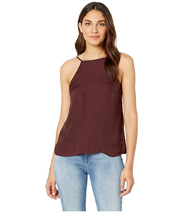 1.STATE High Neck Cami w/ Lace-Up Back Detail (Dark Oxblood) Women