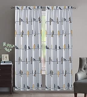 Crystal Home Decor 2PC Room Darkening Window Curtain Set, 3 Inch Rod Pocket,Set of 2, Bird Design (Yellow/Grey, 52