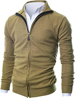 GIVON Mens Slim Fit Light Weight Full Zip Up Cardigan with Inside Soft Fabric