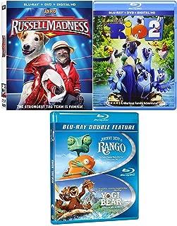 Monkeys Bears & Birds Adventure Movie Pack Rango Blu Ray + Yogi Bear / Rio 2 & Russell Madness awesome Family 4 movie Set