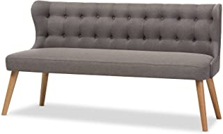 Baxton Studio Parisa Grey Fabric & Natural Wood Finishing 3 Seater Settee Bench, gray