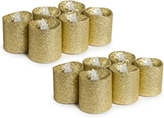 Set of 12 - WYZworks Gold Glitter Votive Tea Light Flameless LED Faux Wax Candle