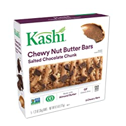 Kashi,Chewy Nut Butter Bars, Salted Chocolate Chunk, Vegan, Gluten Free,Non-GMO Project Verified,