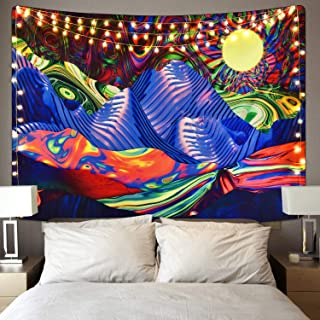 Krelymics Psychedelic Tapestry Mountain and Sun Tapestry Bohemian Hippie Tapestry Colorful Sunrise Tapestry Natural Landscape Trippy Tapestry for Room(51.2 x59.1 inches)