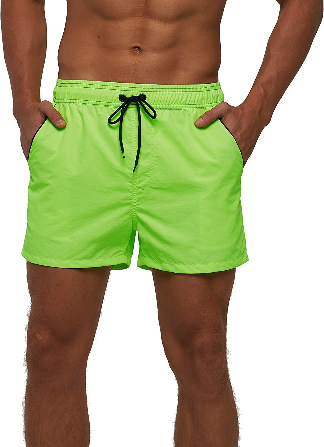 TENMET Men's Quick Dry Swim Trunks Solid Sports Board Shorts Swimsuit with Back Zipper Pockets