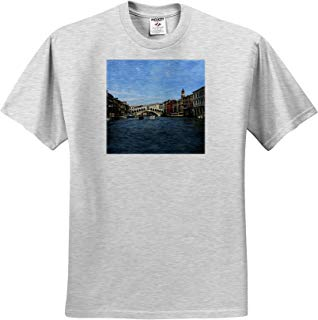 3dRose Vacation Spots - The Rialto Bridge Venezia Italy - T-Shirts - Adult Birch-Gray-T-Shirt 2XL (ts_1310_22)