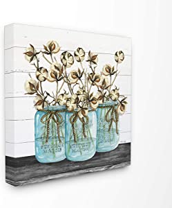 Stupell Industries Cotton in Mason Jars Rustic Illustration Planked Look Canvas Wall Art, 17 x 17, Multi-Color