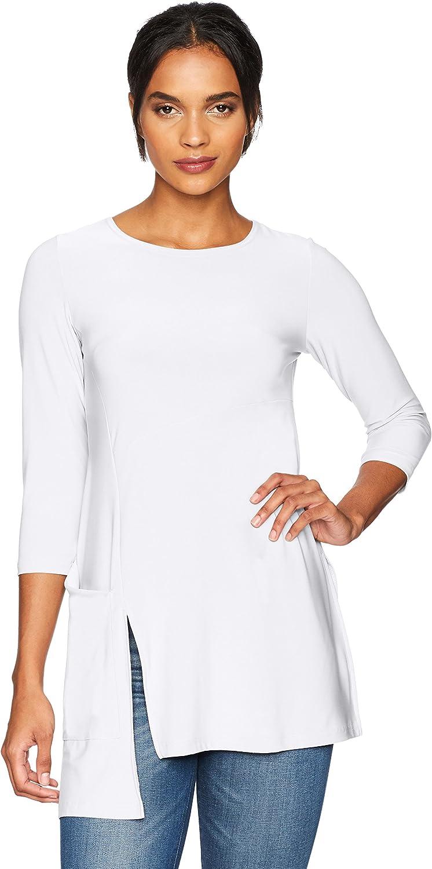 Sympli Womens Chop Tunic, High Neck, 3 4 Sleeve with Pocket Shirt