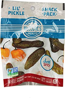 McClure's Pickles - Sweet and Spicy Baby Dill Pickle Snack Packs - Mini Size Pickles (12-Pack)