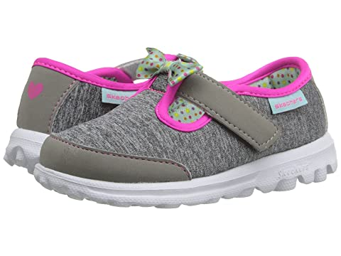 Kids SKECHERS GoWalk Bitty Bow Shoes Gray GREY