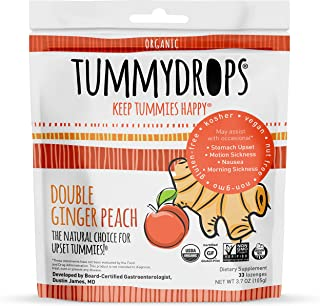 Non-GMO Project Verified Double Ginger Peach Tummydrops 33 Count