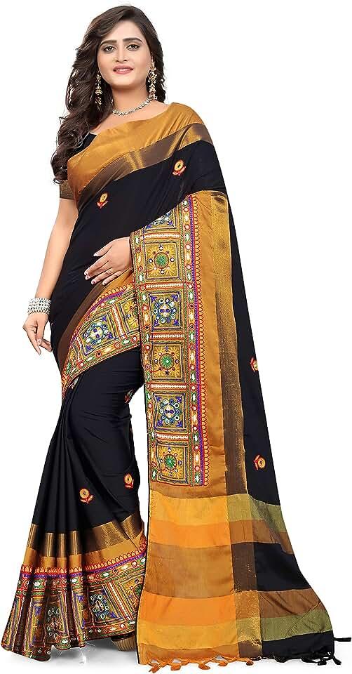Indian Arriva Fab cotton with blouse piece Saree (Riva406_ Black_ Free Size) Saree