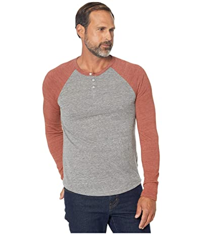 Alternative Eco Long Sleeve Raglan Henley (Eco Grey/Eco True Sedona Red) Men