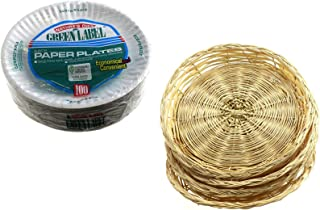 Paper Plate Holders and Disposable Plate Bundle. Comes with 4 Holders Measuring 10