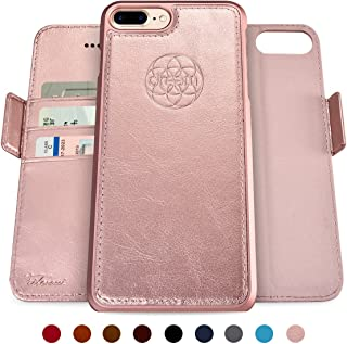 Dreem Fibonacci 2-in-1 Wallet-Case for iPhone 8 & 7, Magnetic Detachable Shock-Proof TPU Slim-Case, Allows Wireless Charging, RFID Protection, 2-Way Stand, Luxury Vegan Leather, Gift-Box - Rose-Gold