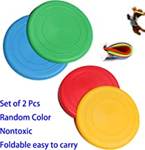 We pay your sales tax 2 Pcs Flying Disk Rubber Foldable Frisbee Dog Toy Throw Fetch Training Plate Nontoxic Random Color KT00120