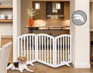 """Arf Pets Free Standing Wood Dog Gate, Expands Up to 74"""" Wide, 31.5"""" Tall - Bonus Set of Foot Supporters Included � White Color"""