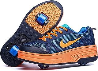Churlin Garçons Filles Chaussures à roulettes 1Roue/2 Roues Respirant Patins à roulettes pour Unisexe Enfants Retractable ...
