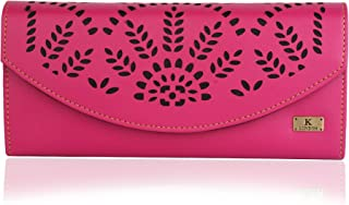 K London Floral Women's Clutch Purse Women Wallet (Pink,Black) (1601_Pink)
