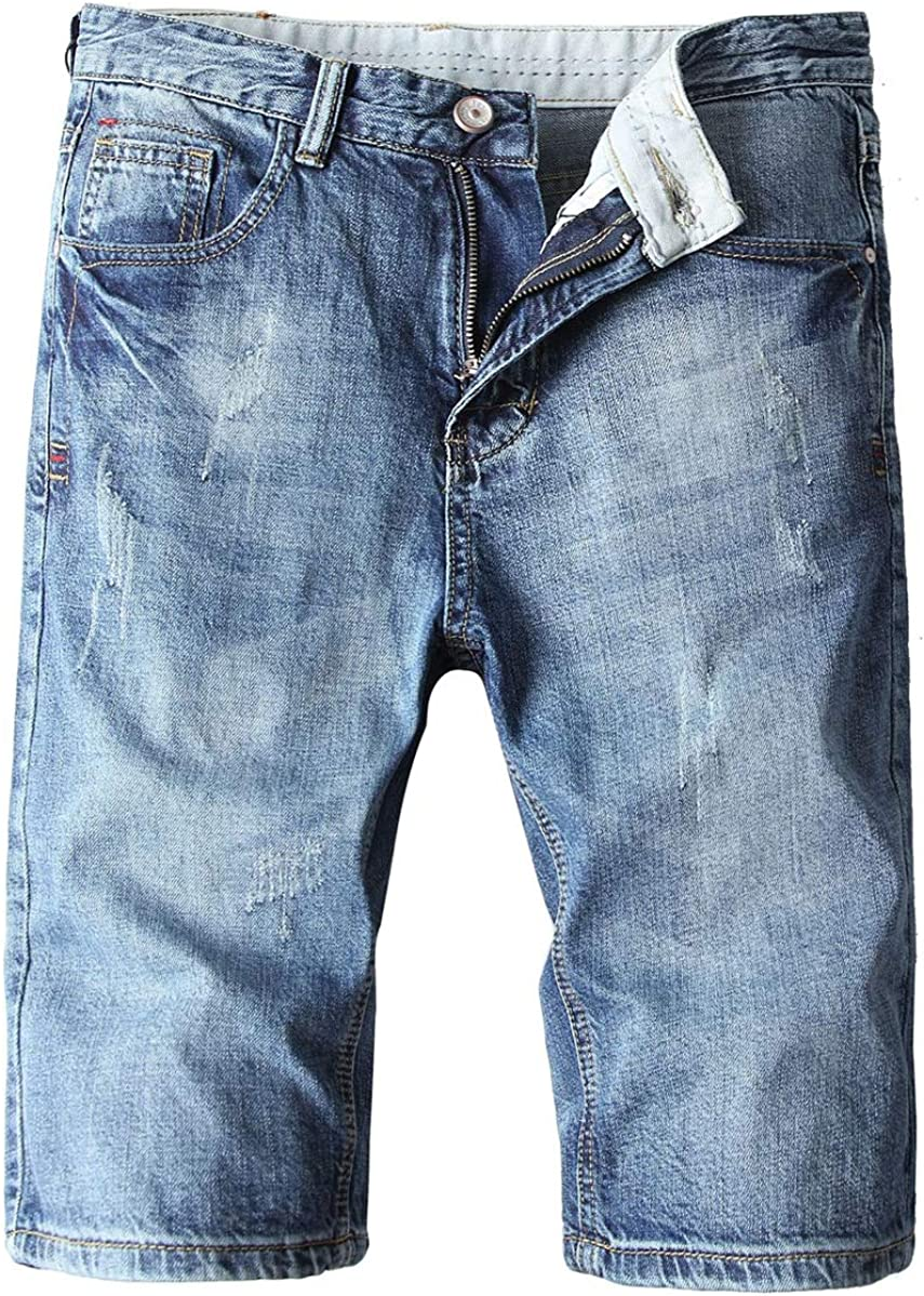 chouyatou Men's Distressed Basic 5 Pocket Flat Front Denim Jean Bermuda Short