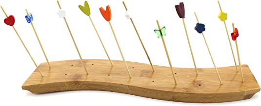 """BambooMN 12"""" x 3"""" Bamboo Skewer Holder Food Display S-Wave Bamboo Skewers Stand w/ 20 Holes, Natural Color - 1 Piece"""
