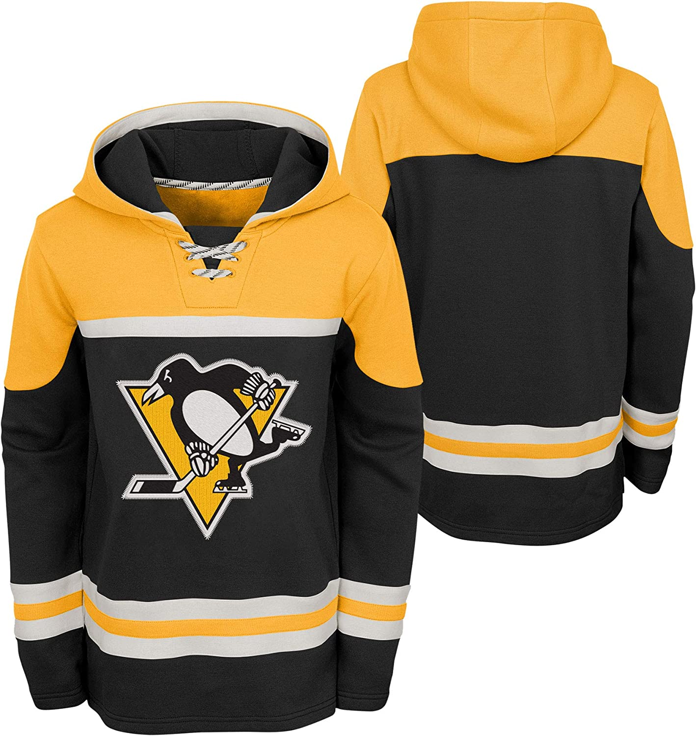 Outerstuff Pittsburgh Penguins Youth Asset Lace-Up Pullover Fleece Hoodie
