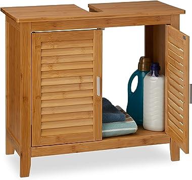 Relaxdays 10019203 Meuble dessous de lavabo LAMELL pour la salle de bain cuisine 2 Portes en bambou Sous-lavabo rangement ser