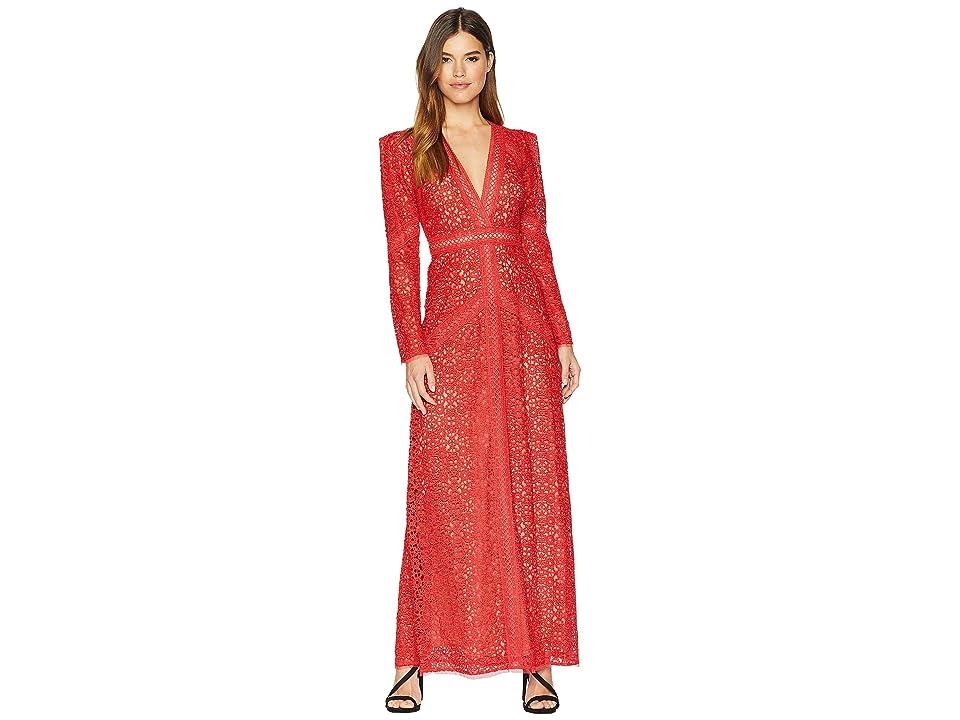 BCBGMAXAZRIA Mosaic Lace Maxi Dress (Red) Women