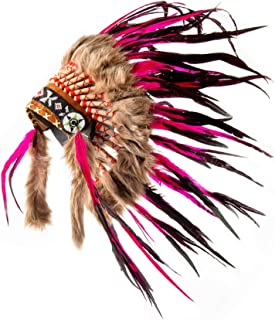 Pink Pineapple Handcrafted Native American Inspired Small Feather Headdress, Hot Pink and Black