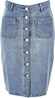Bird Keepers Womens Knee Length Skirts The Midi Button Up Skirt Denim