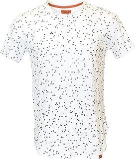 Mens Hipster Hip Hop T-Shirt White All Over Print Longline Split Sides 100% Organic Cotton