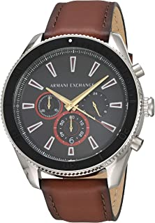 Armani Exchange Enzo Chronograph Stainless Steel Watch With Leather Strap